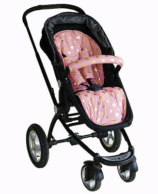 Bambella Pram Liner + Strap Covers Universal Fit CORAL & GOLD POLKA DOT - New!!!