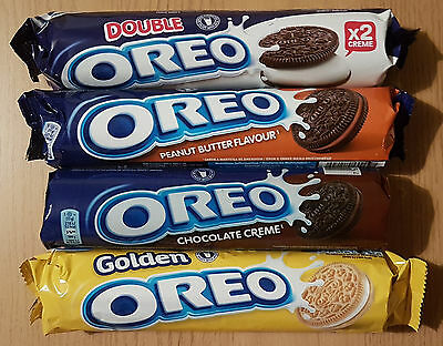 4x OREO! Flavour PEANUT BUTTER,GOLDEN,DOUBLE STUFF,CHOCOLATE CREME Cookies 619g