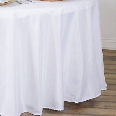 """6 pcs WHITE 90"""" ROUND POLYESTER TABLECLOTHS Trade Show Booth Decorations SALE"""
