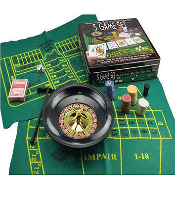 5 Game Set Casino Roulette Poker Black Jack Poker Dice Craps Game Party Fun
