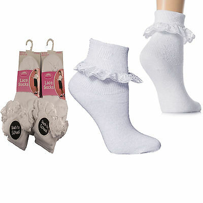 Girls Kids Children Jolie Fille Lace Socks Frilly Frills White Cotton Ankle Baby