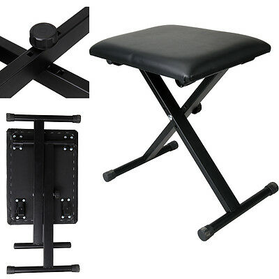 Black Leather Foldable Adjustable X Frame Keyboard Bench Piano Stool Seat