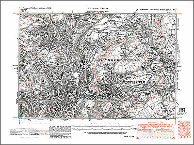 Huddersfield central, old map Yorkshire 1938: 246SE repro
