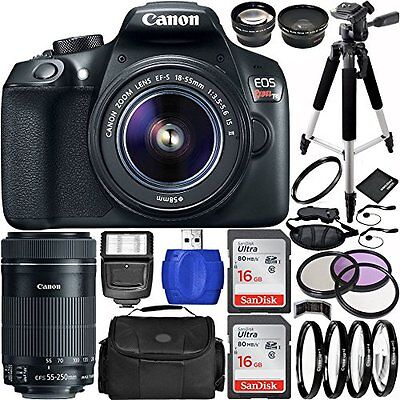 Canon EOS Rebel T6 DSLR Camera Bundle w/ 18-55mm and 55-250mm Lens MEGA BUNDLE
