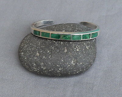 Old Vintage Native American Silver Green Turquoise Inlay Cuff Bracelet