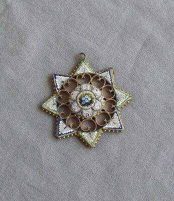 Vintage Antique Filigree Micro Mosaic Floral Star Pendant