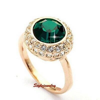 Rose Gold Plated Green Emerald Birthstone Ring Made With Swarovski Crystal R199