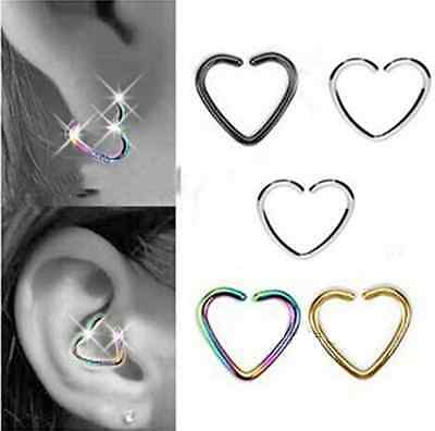 10 Stainless Steel Heart Ring Piercing Hoop Earring Cartilage Tragus Daith CHI