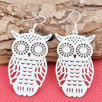 Women's Fashion Jewelry 925 Sterling Silver Owl Dangle Earrings Elegant Stud New