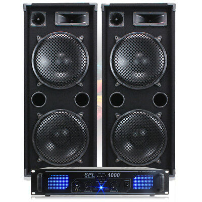 "2x MAX210 2 x 10"" Speakers + Skytec SPL-1000 Amp + Cables Disco DJ 1800W"