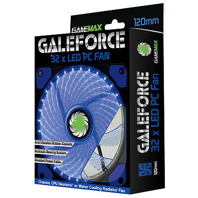 Blue LED Computer Silent Case Fan / 120mm x 12cm / 32x LED Game Max Galeforce