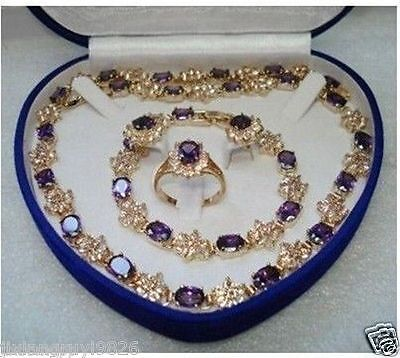 Mother's Day gift true Amethyst gold filled Earring Bracelet Necklace Ring