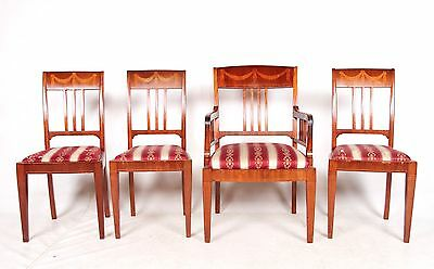 4 Antique Dining Chairs Swedish Biedermeier Inlaid Mahogany Large Dining Chairs