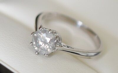 One carat diamond ring - White Gold 18K  F SI clarity solitaire 1.00 carat