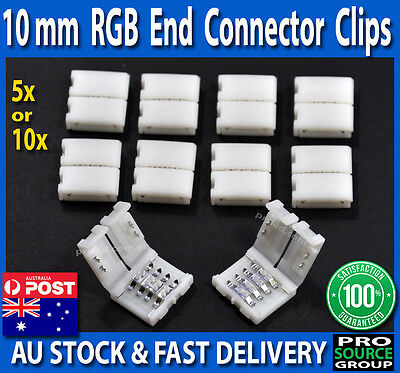 10mm 4-Pin 5050 RGB End Connector Clips for LED Strip lights - No Soldering