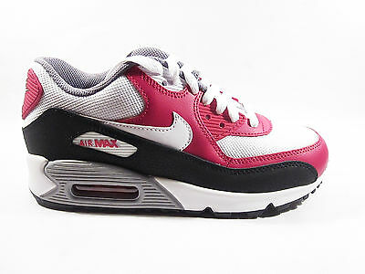 Womens Girls Boys Nike Air Max 90 Leather And Mesh White Red Trainers 724824102