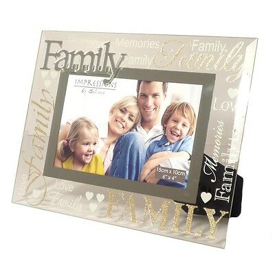 Modern Silver 3D Word Family Glass Glitter Photo Picture Frame Love Parents Gift