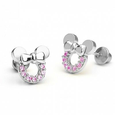 14k Gold Plated 925 Silver Pink Minnie Mouse Children Screwback Earring Baby, To