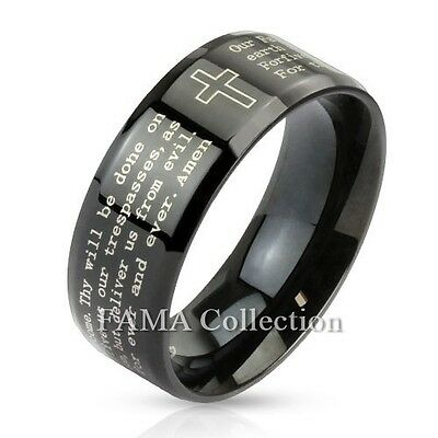 FAMA Stainless Steel Black IP Cross & Lord's Prayer Beveled Band Ring Size 5-13