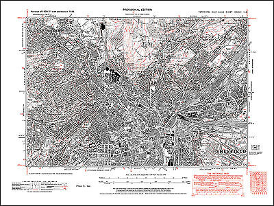 Sheffield central, old map Yorkshire 1938: 294NE repro