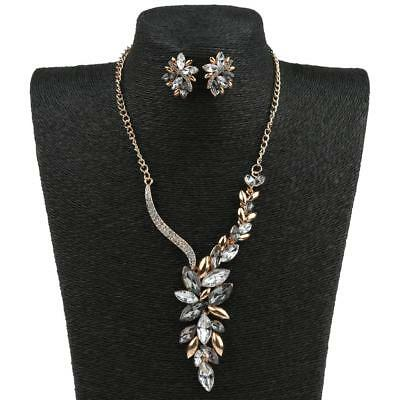 1 Necklace Earrings Set Bridal Crystal Alloy Silver Wedding Chain Jewelry