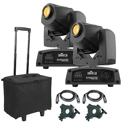 Chauvet DJ Intimidator Spot 155 Compact LED Moving Heads (2pk) + Cables + Cases