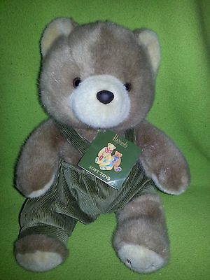 "Harrods Knightsbridge Plush Teddy Bear Green Corduroy Overalls 12"" Tall British"