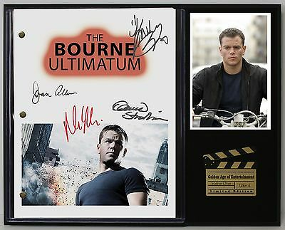The Bourne Ultimatum Reprinted Autograph Movie Script Display - USA Ships Free