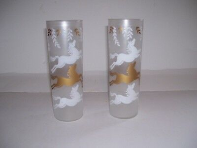 Set of 2 Vintage 1953 Libbey Tom Collins Glasses Gold White Horses Frosted Glass