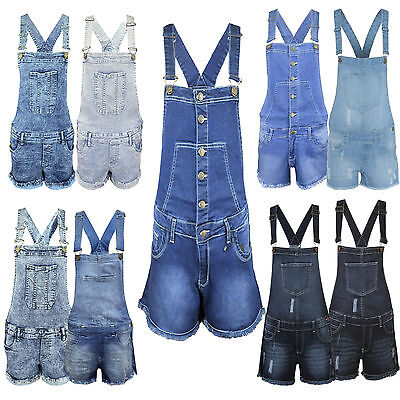 New Girls Ladies Womens Denim Dungarees Playsuit Jumpsuit Shorts Pinafore 8-18