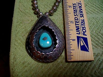 Antique sterling Bench Bead Large Shadowbox Pendant Turquoise green gold pyriite