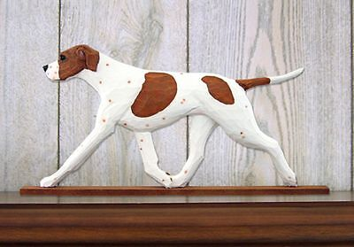 English Pointer Figurine Sign Plaque Display Wall Decoration Orange/White