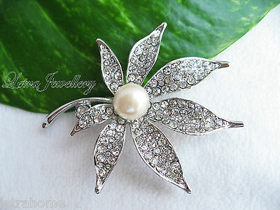 Vintage White Freshwater Pearl Platinum Plated Maple Leaf Brooches Corsage