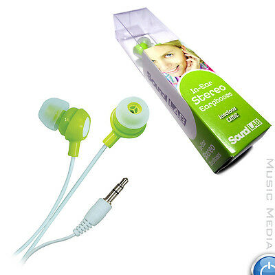 Lime Noise Isolating Earphones In-Ear Soft Earbuds Smartphone tablet 3.5mm jack