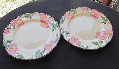 "2 Franciscan Desert Rose Gladding Mcbean California 10 1/2"" Dinner Plates  58-63"