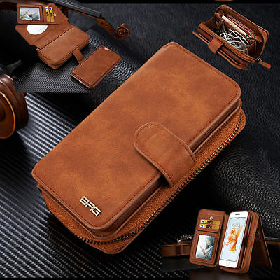Genuine Leather ZIP Purse Wallet Case Cover iPhone 7 6S Plus & Galaxy S7 edge S8