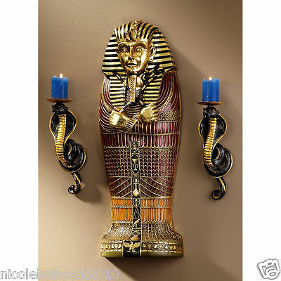 Ancient Egyptian Royal King Tut Gold Leaf Scaled Sarcophagus Wall Sculptre