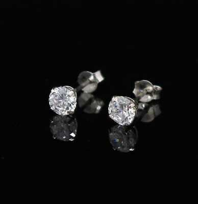 0.5Ct Round Brilliant 14K White Gold 4mm Round Push Back Stud Earrings