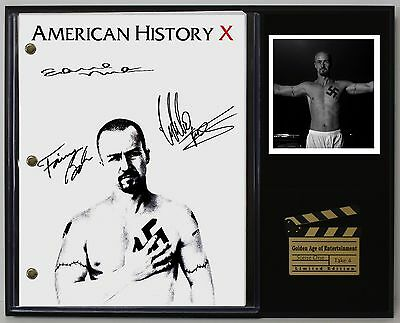 American History X - Reprinted Autographed Movie Script Display USA Ships Free
