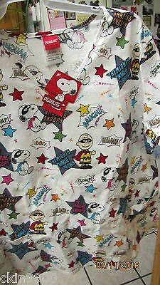 SNOOPY UNIFORM SMOCK SCRUB TOP SNOOPY & CHARLIE BROWN BANDIT Small NEW