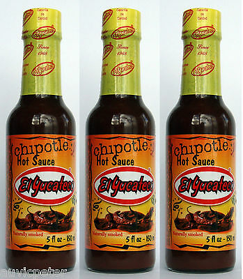 3 Bottles El Yucateco Hot Sauce, Chipotle Janapena Caribbean Red Green XXXTRA
