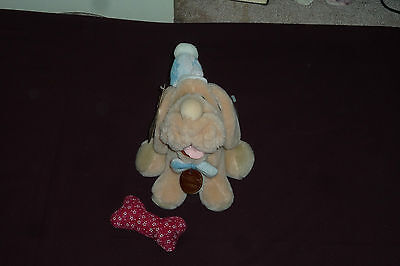 "Vintage 1984 Ganz Wrinkles 6"" Puppy Dog Puppet With Tags & Bone PINK & TAN"