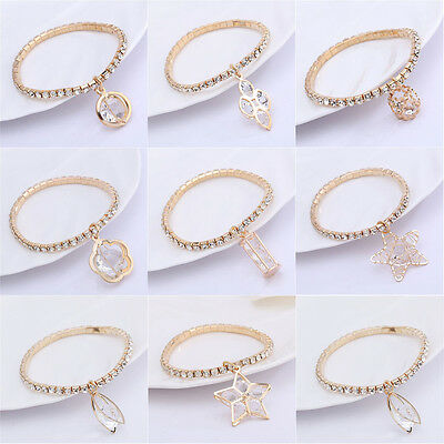 Fashion Charm Women Star Crystal Gold Plated Cuff Bracelet Bangle Jewelry