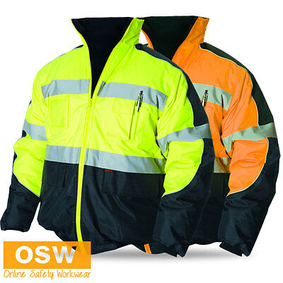 Hi Vis Day & Night Waterproof Hooded Bomber Winter Warm Reflective Safety Jacket