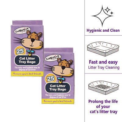 2 X 25pk CAT LITTER TRAY LINERS 29.8cm X 72cm With Handles Cleaning Hygienic Bag