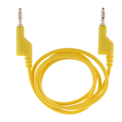 Double 4mm Stackable Banana Plug Cable Multimeter Power Current Test Yellow