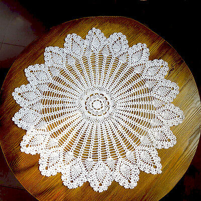 32'' Hand Crochet Round Table Cloth Runner Topper Victorian White Cotton New
