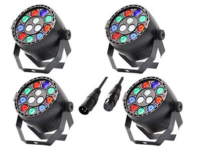 4 x Equinox Micropar RGBW 12 X 1W LED Par Can Lighting DJ Disco DMX Light Effect