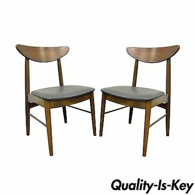 Pair of Vintage Stanley Mid Century Danish Modern Curved Back Walnut Side Chairs