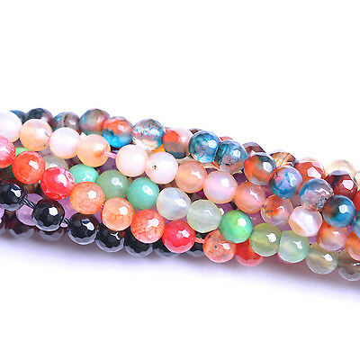 Wholesale Natural Gemstone Agate Faceted Round Loose  Stone Beads 6MM 8MM